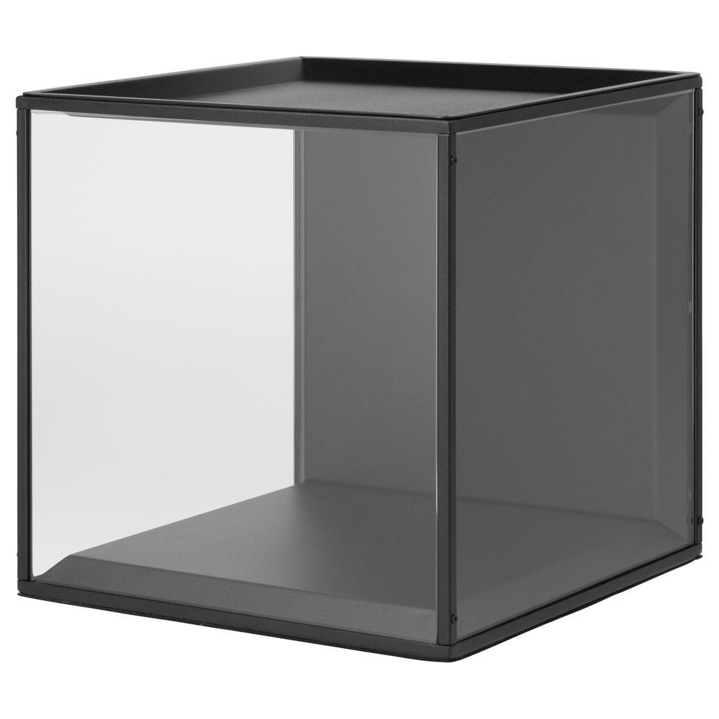 SAMMANHANG Boîte vitrée avec couvercle, noir, verre